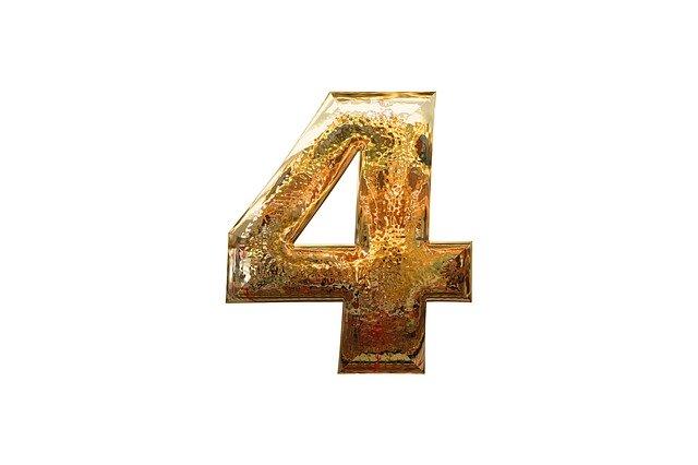 zlatá lesklá číslice 4