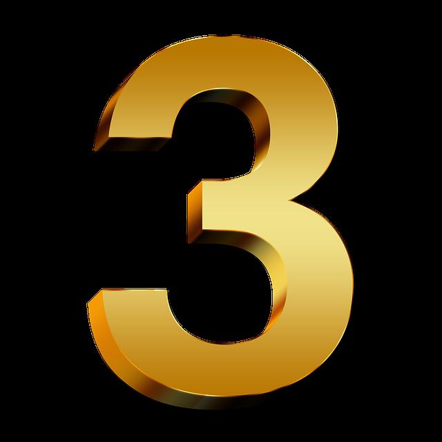 matné zlaté číslo 3